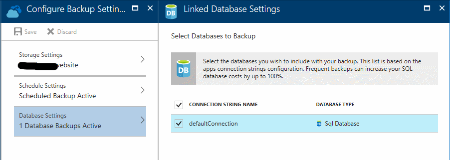 azure database backups
