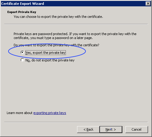 certificate export options