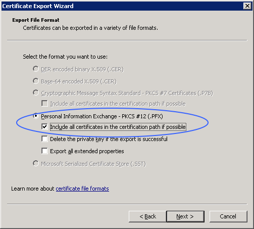 more certificate export options