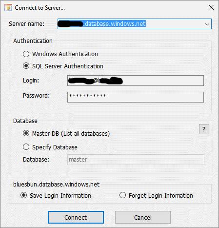 sql destination server details